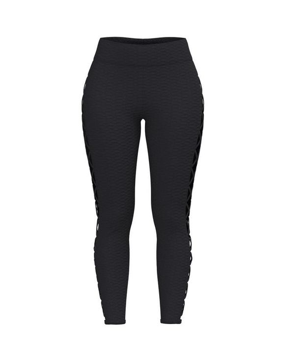 Lace Up Side Textured Ruched Sports Leggings gallery 9