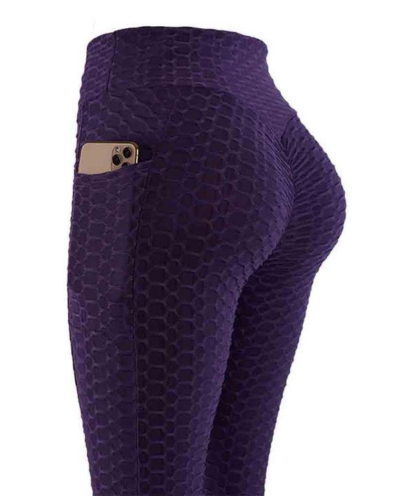 Solid Textured Pocket Detail Scrunch Butt Sports Leggings gallery 8