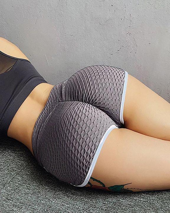 Contrast Binding Textured Overlap Waist Sports Shorts gallery 9