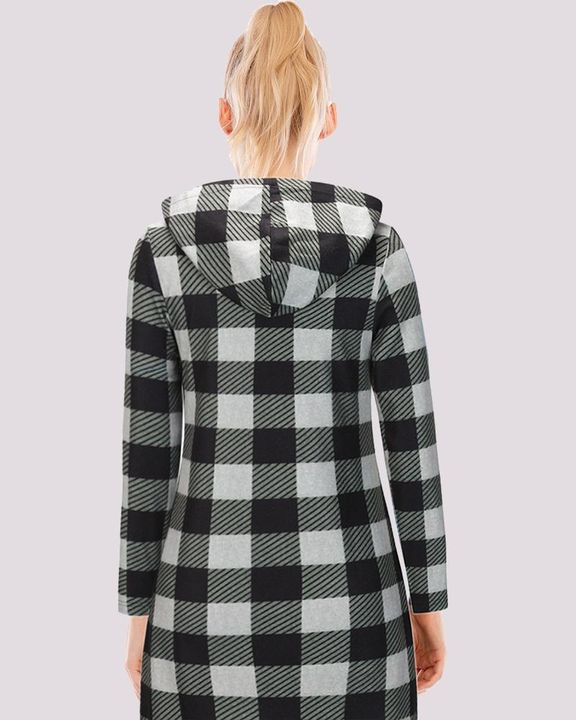 Gingham Button Through Pocket Front Hooded Coat gallery 8