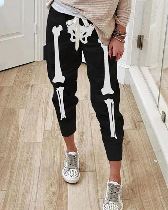 Skeleton Print Drawstring Front High Waist Pants gallery 1