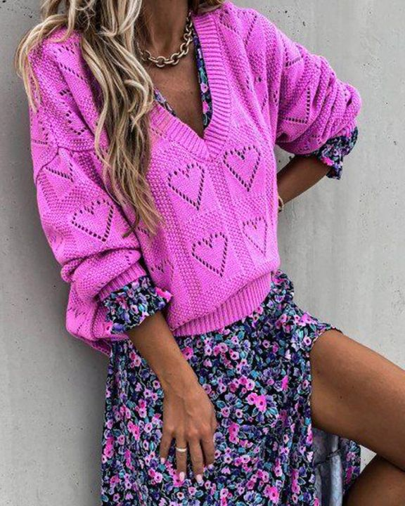 Heart Pattern Hollow Out Rib-Knit Sweater gallery 8