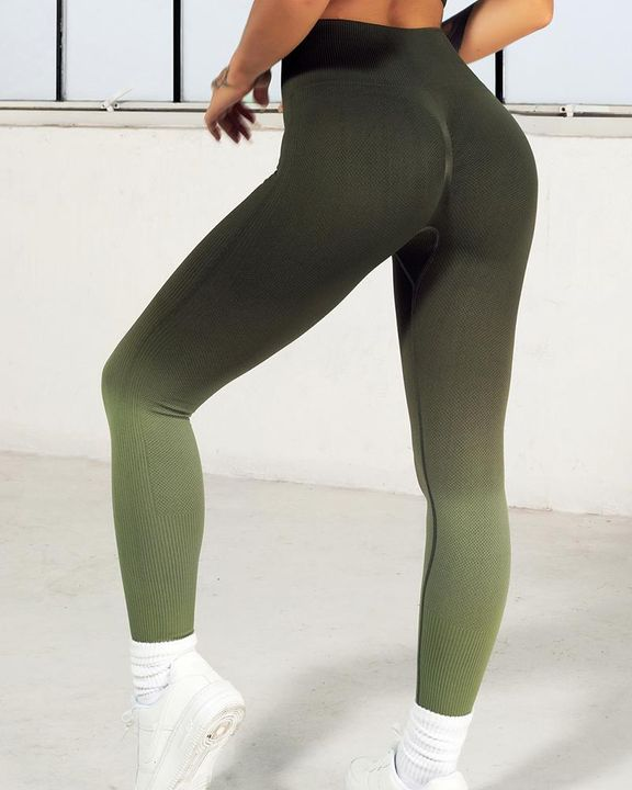 Ombre Wide Waistband Butt Lifting Sports Leggings gallery 17