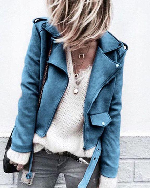 Suede Zip Up Flap Pocket Belted Moto Jacket gallery 4