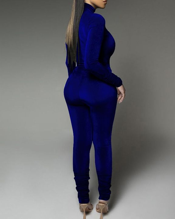Solid Velvet Form Fitted Top & Pants Set gallery 15