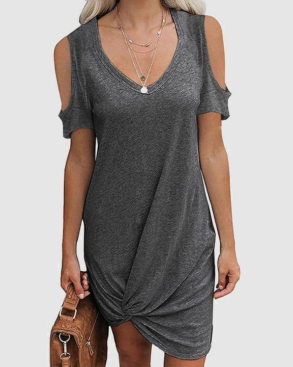 Solid Twist Cold Shoulder Short Dress gallery 4