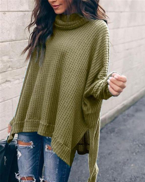 Solid Split Hem High Neck Sweater gallery 3