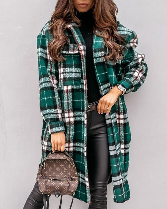 Plaid Print Patch Pocket Button Up Teddy Coat gallery 4