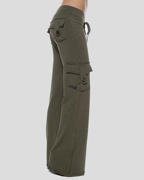 Solid Button Flap Pocket Drawstring Wide Leg Pants gallery 10