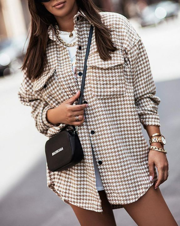 Houndstooth Print Flap Pocket Button Up Coat gallery 6