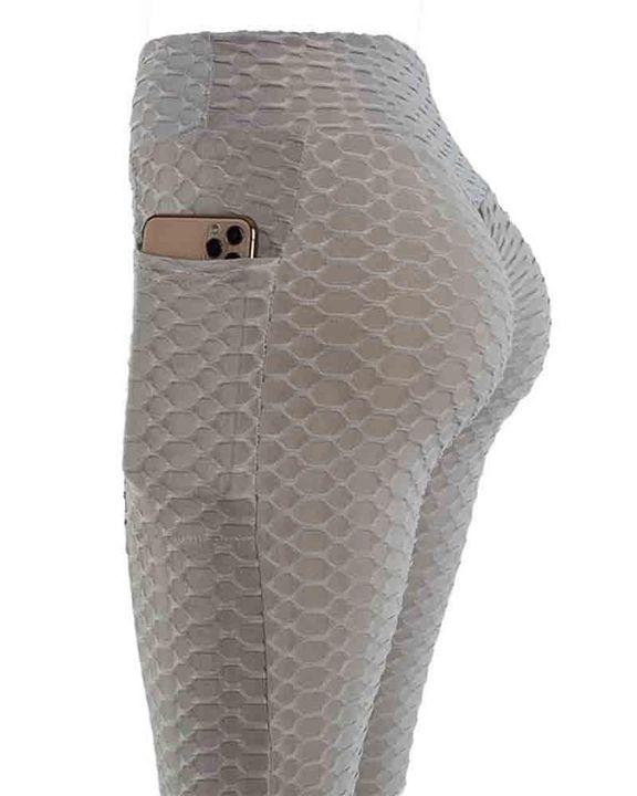 Solid Textured Pocket Detail Scrunch Butt Sports Leggings gallery 4