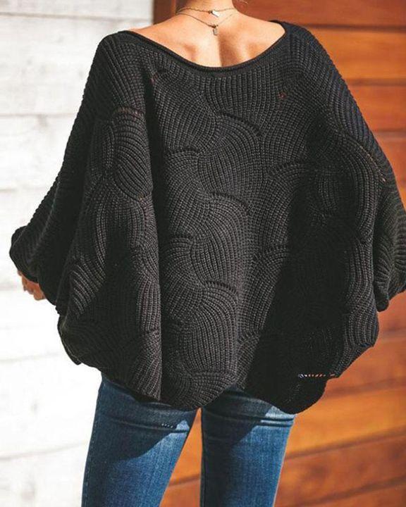Open Knit Lantern Sleeve Scallop Hem Oversized Sweater gallery 9