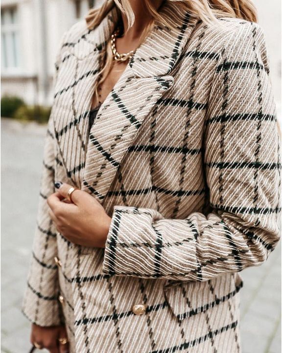 Plaid Double Breasted Lapel Neck Coat gallery 11