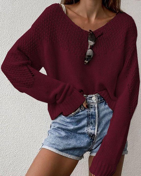 Crochet Drop Shoulder V Neck Sweater gallery 3