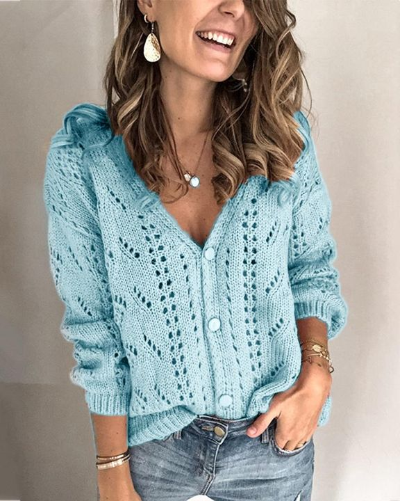 Pointelle Knit Button Up Drop Shoulder Sweater gallery 3