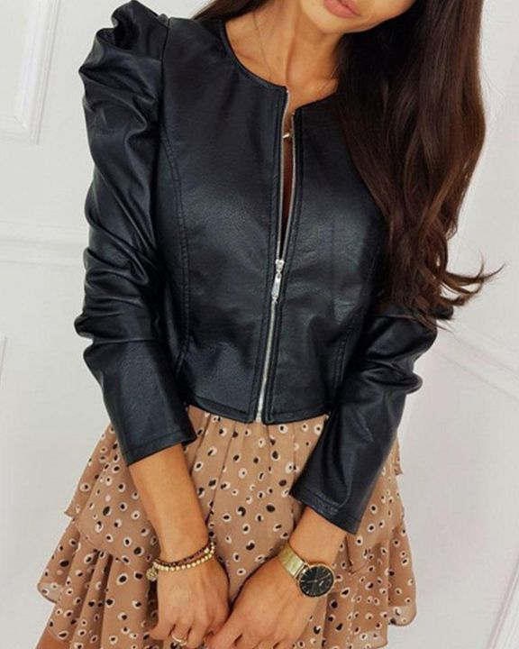 Zip Up Ruched Leg-of-mutton Sleeve PU Jacket gallery 1