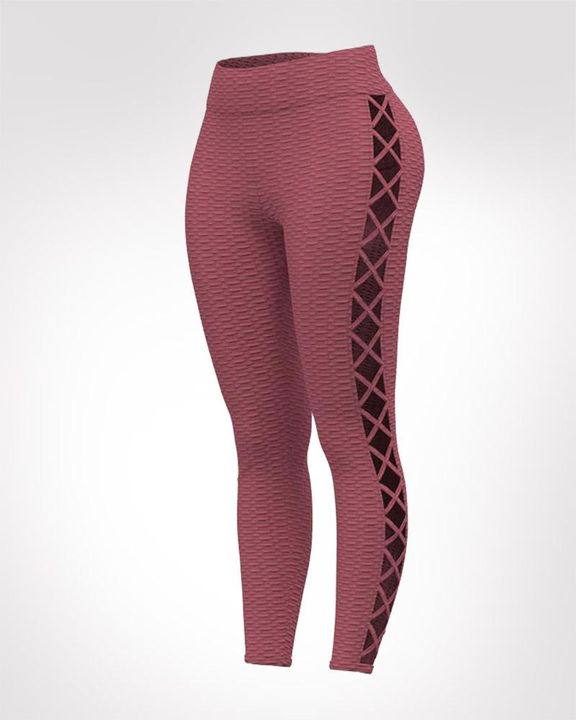 Lace Up Side Textured Ruched Sports Leggings gallery 3