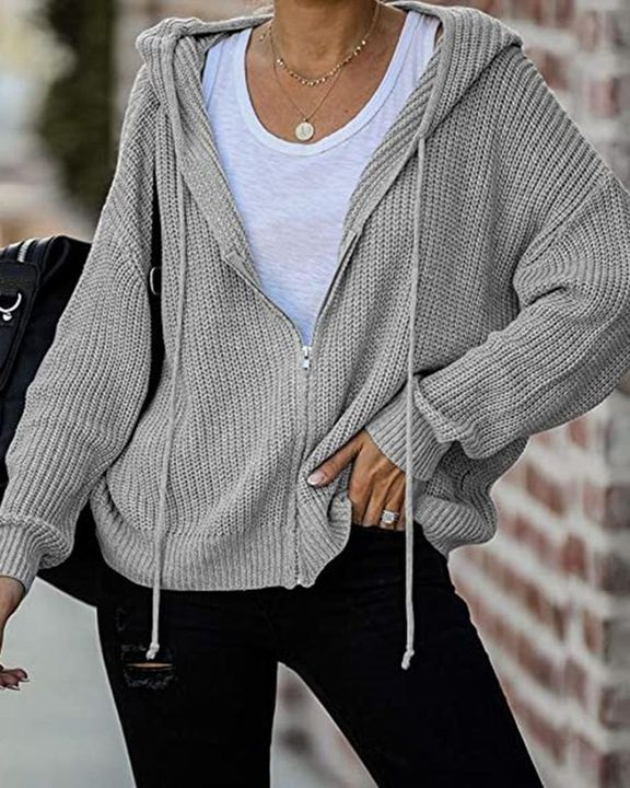Chunky Knit Zip Front Drawstring Hooded Cardigan gallery 4