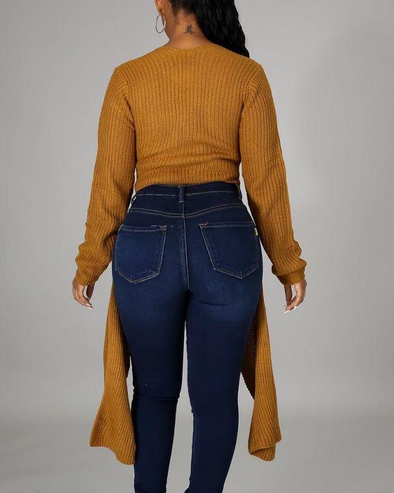 Chunky Knit Split Hem V Neck Sweater gallery 7