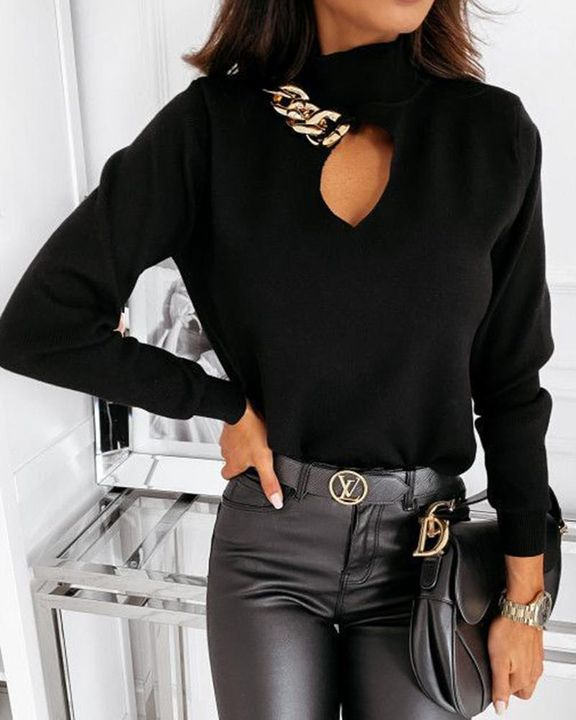 Chain Linked Keyhole Front Stand Collar Sweater gallery 2