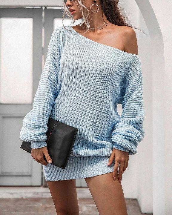 Boat Neck Lantern Sleeve Sweater Dress gallery 3