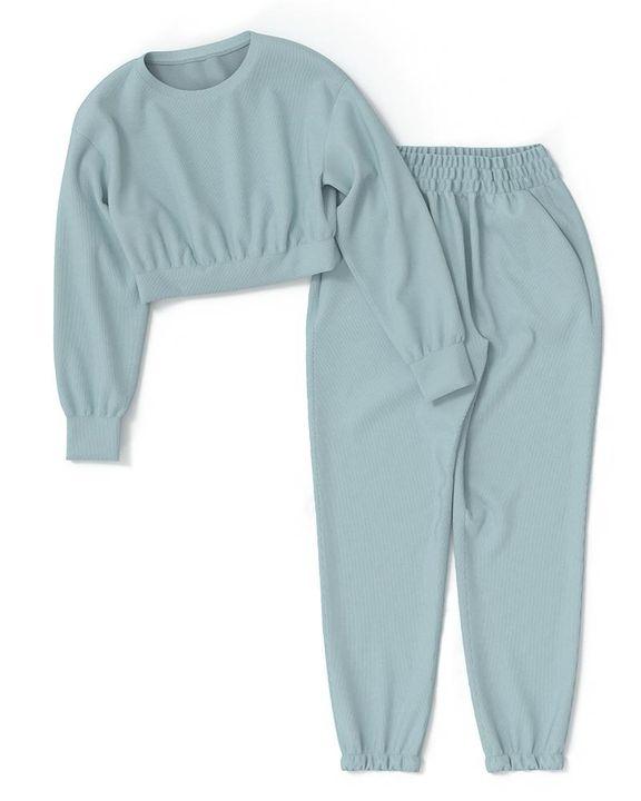 Solid Ribbed Long Sleeve Crop Top & Pants Set gallery 21