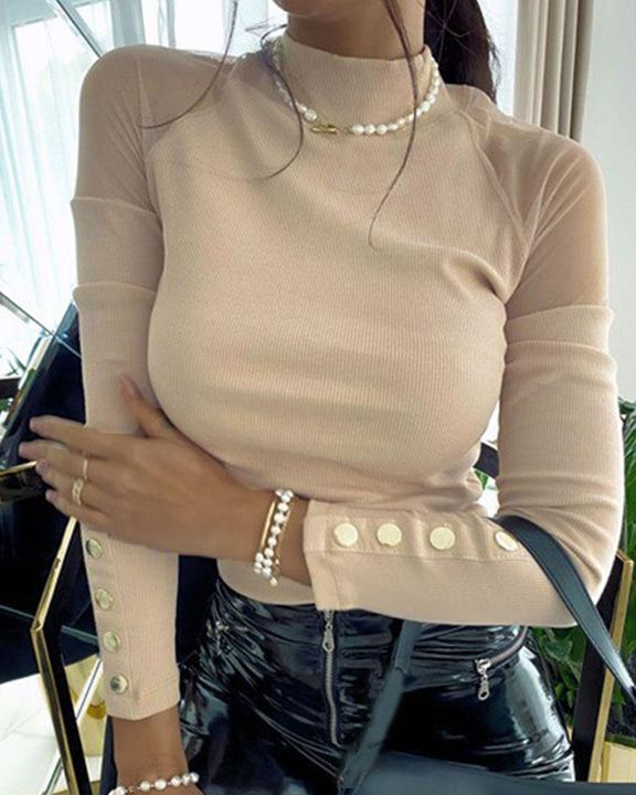 Mock Neck Mesh Insert Button Trim Sweater gallery 3
