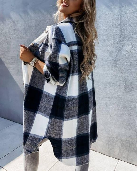 Plaid Flap Pocket Button Up Knee Length Coat gallery 3