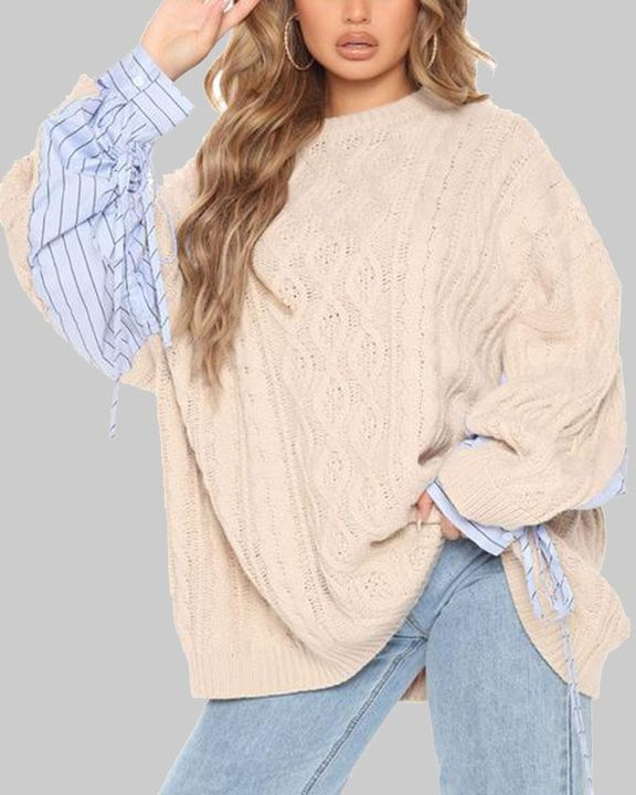 Colorblock & Striped Cable Knit Drop Shoulder Sweater gallery 2