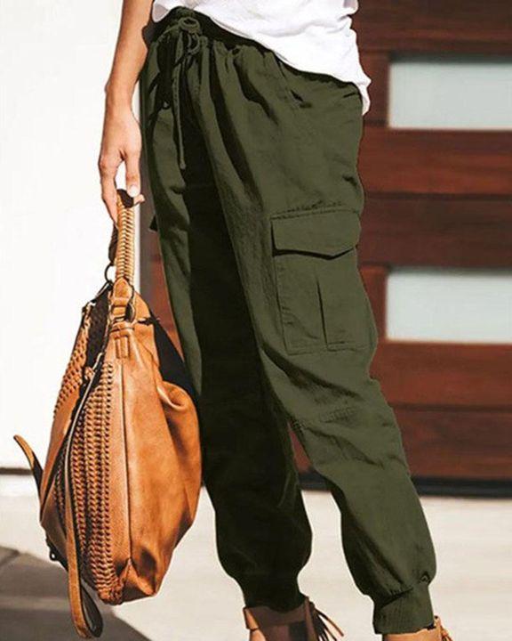 Drawstring Waist Flap Pocket Sports Pants gallery 4