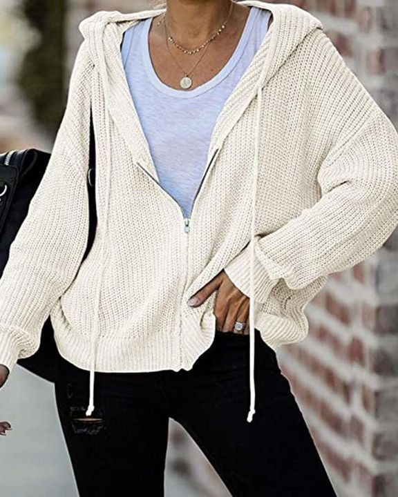 Chunky Knit Zip Front Drawstring Hooded Cardigan gallery 5