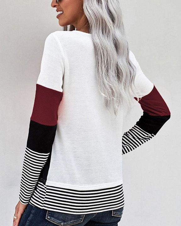 Colorblock Striped Print Round Neck Sweater gallery 7