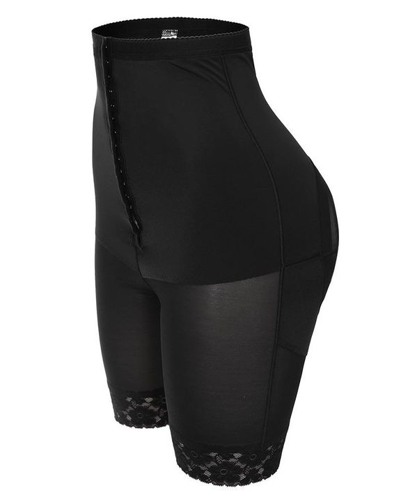 Contrast Lace Hook Tie Front High Waist Shapewear Shorts gallery 2
