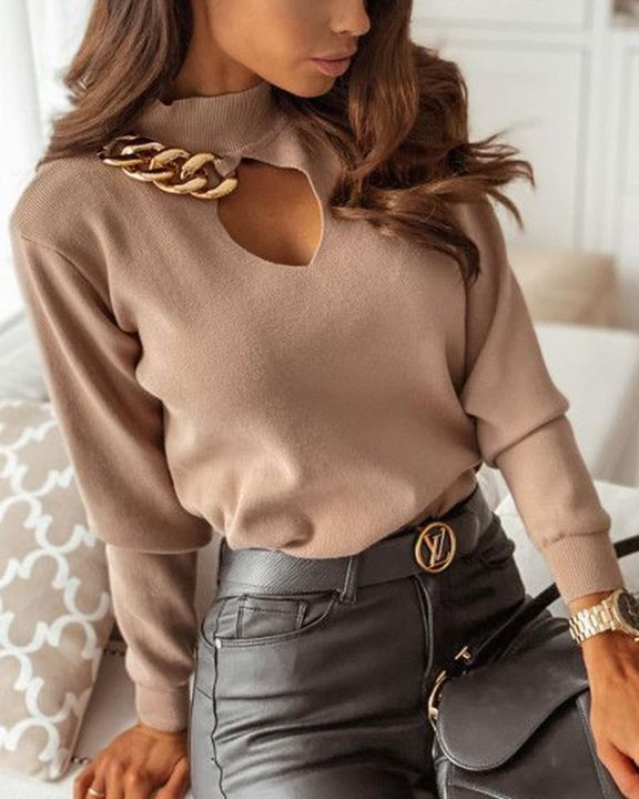Chain Linked Keyhole Front Stand Collar Sweater gallery 4