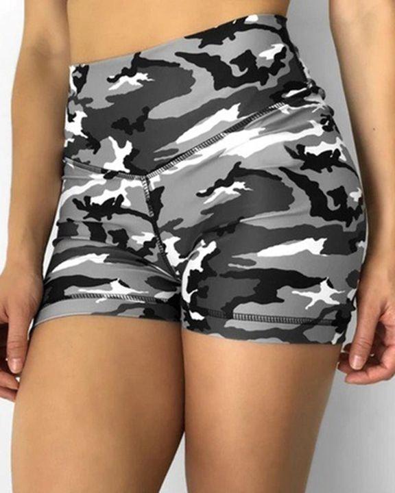 Camo Print Scrunch Butt High Waist Sports Shorts gallery 2