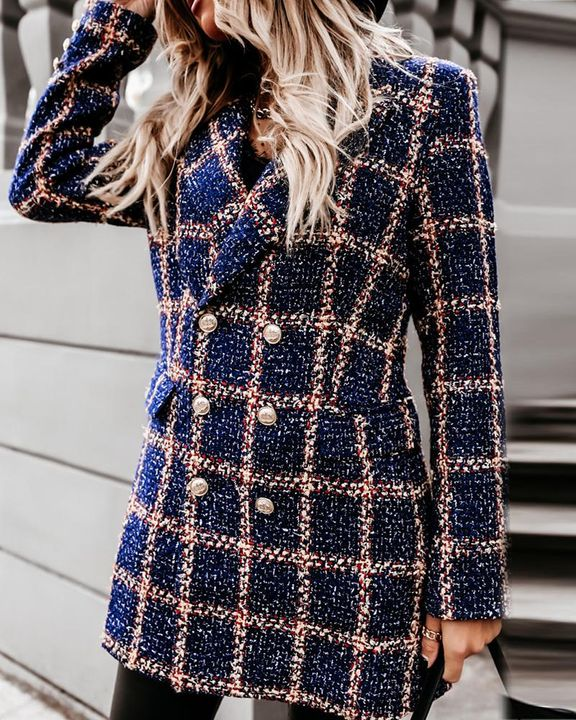 Houndstooth Double Breasted Lapel Neck Coat gallery 20