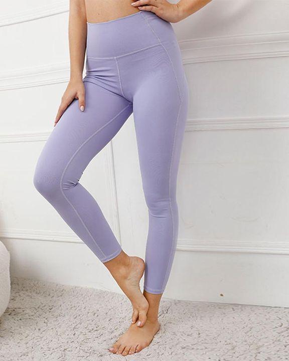 Contrast Stitch Pocket Side Softness Butt Lifting Sports Leggings gallery 1