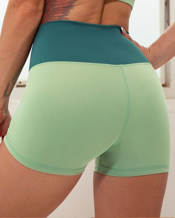 Colorblock Notched Waist Sports Shorts gallery 6