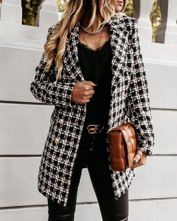 Plaid Double Breasted Lapel Neck Coat gallery 9