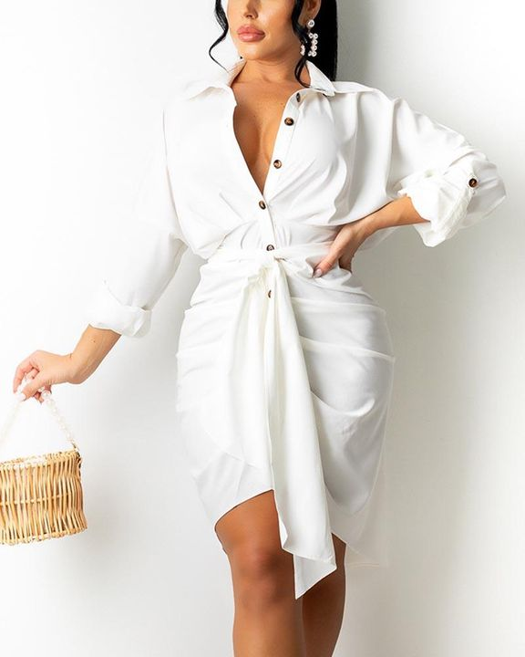 Solid Button Up Ruched Belted Knee Length Dress gallery 1