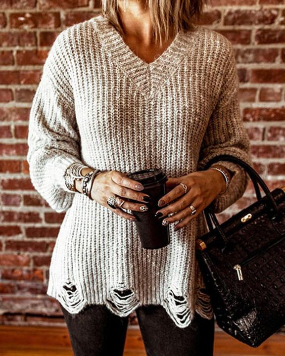 Chunky Knit Drop Bishop Sleeve Sweater gallery 1