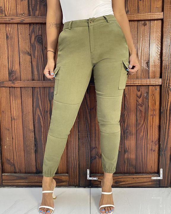 Solid Pocket Detail Belted High Waist Pants gallery 3