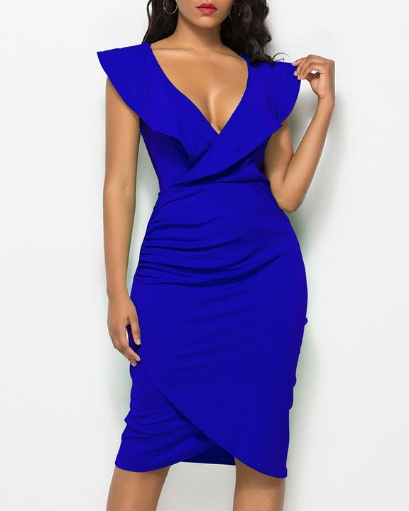 Solid Ruffle Trim Ruched Wrap Asymmetrical Hem Knee Length Dress gallery 6