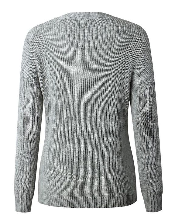 Solid Fringe Trim Drop Shoulder Sweater gallery 8
