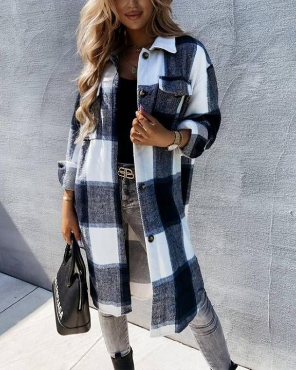 Plaid Flap Pocket Button Up Knee Length Coat gallery 2