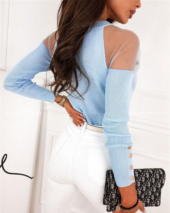 Solid Studded Button Ribbed Mesh Cold Shoulder Sweater gallery 7