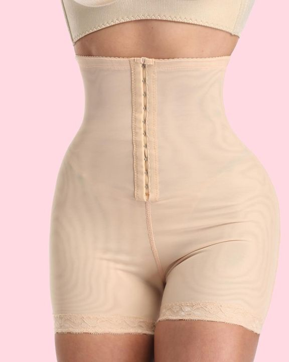 Solid Buckle Front High Waist Shapewear Shorts gallery 2
