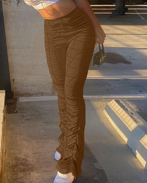 Solid Ruched Flare Leg Stacked Pants gallery 9