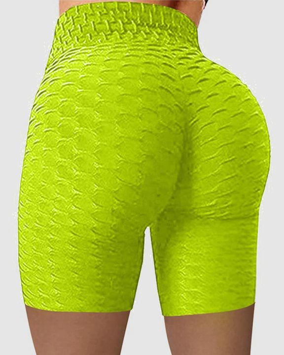 Solid Textured Wide Waistband Butt Lifting Sports Shorts gallery 8