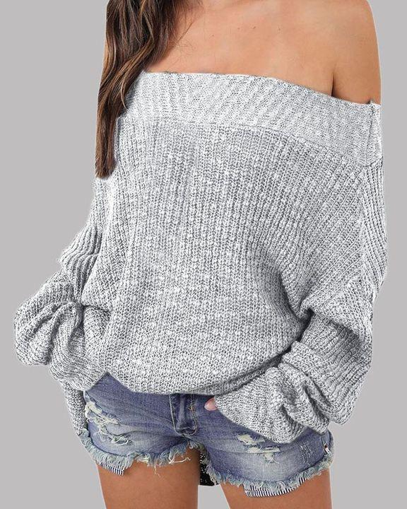 Boat Neck Drop Shoulder Oversized Sweater gallery 6